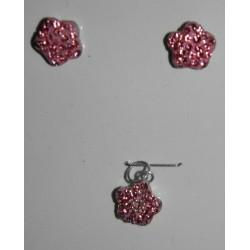 Juego de flores rosas - cristal
