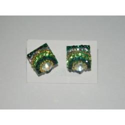 Aretes de cuadro ó rombo tornasol - cristal