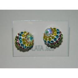 Aretes de bola mediana multicolor cristal