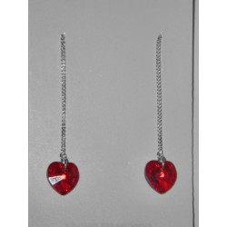 Aretes de corazón swarovski rojos tornasol