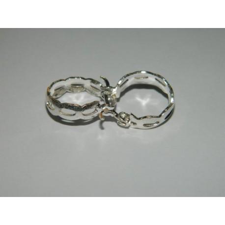 Arracadas circulares diamantadas de 1.5 cm con oyos