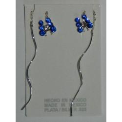 Aretes de mariposa con viol. azul rey