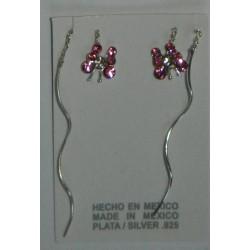 Aretes de mariposas rosas fiushas