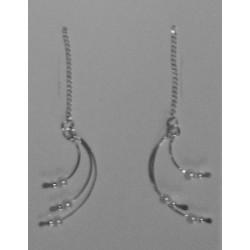 Aretes de 3 alambres con 3 perlitas sint.
