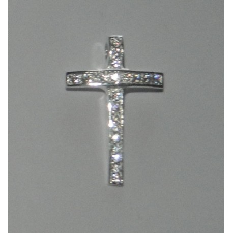 Dije - pasacadenas de cruz con zirconias