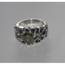 Anillo de 1 zirconia amarilla y 2 esmeraldas (piedras preciosas)