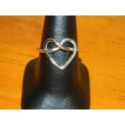 Anillo de corazón doble alambre de plata