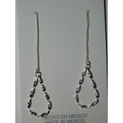 Aretes de gota peque retorcida c/cadena con viol.