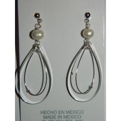 Aretes de doble gota con perla natural