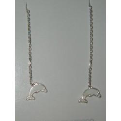 Aretes viol. de delfines blancos