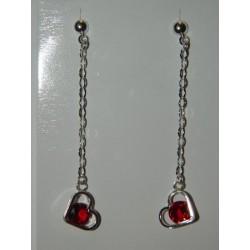 Aretes de corazón rosita con cadena giotto