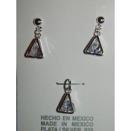 Juego de triángulos con zirconias blancas