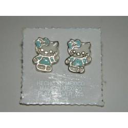 Broqueles de kitty tintados azul cielo