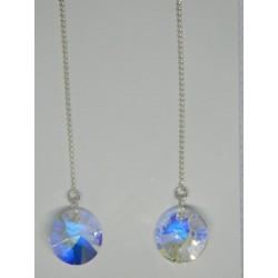 Aretes viol. de circulo tornasol (azul, balnco, amarillo)