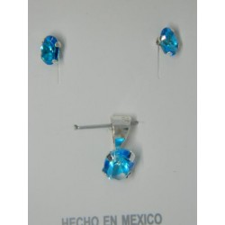Juego de ovalos zirconias azules