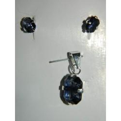 Juego de piedras azul marino ovales