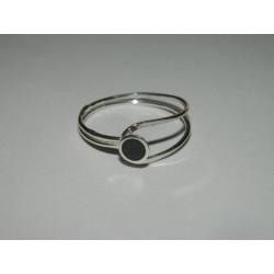 Anillo de circulo negro plano - delgado
