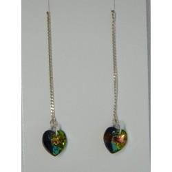 Aretes viol. de swarovskis tornasol multicolor