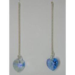 Aretes viol. de swarovskis de corazón azul tornasol