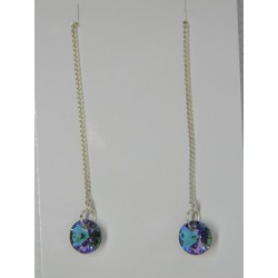 Aretes de viol. circular tornasol azul violeta