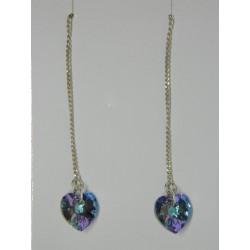 Aretes viol. de corazon swarovski azul y violeta